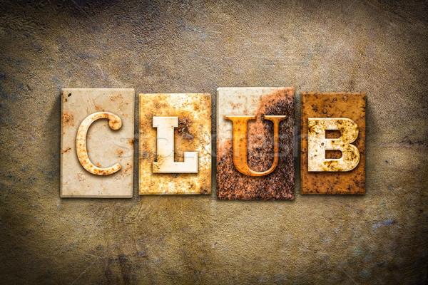 Club Concept Letterpress Leather Theme Stock photo © enterlinedesign