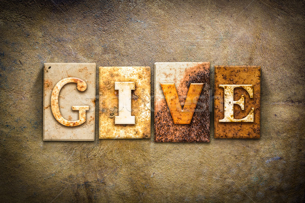 Give Concept Letterpress Leather Theme Stock photo © enterlinedesign
