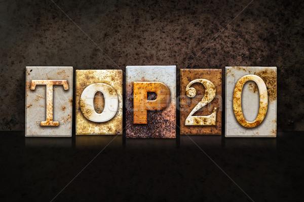 Top 20 Letterpress Concept on Dark Background Stock photo © enterlinedesign