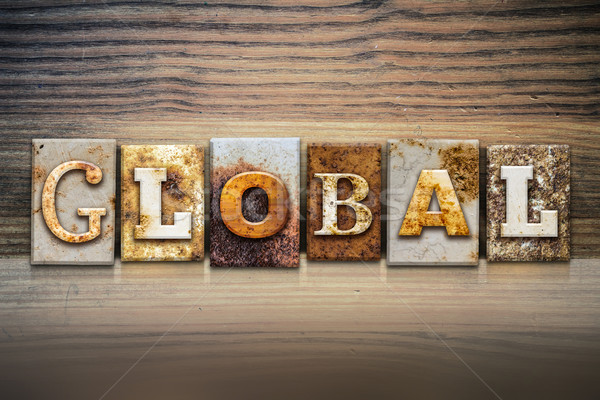 Global kelime yazılı paslı Metal Stok fotoğraf © enterlinedesign