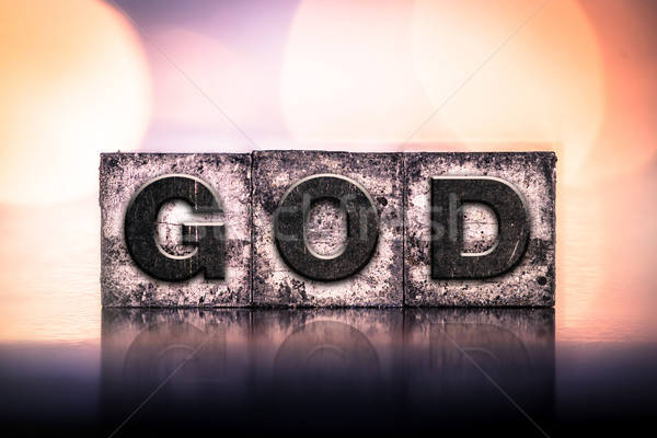 God vintage type woord geschreven Stockfoto © enterlinedesign