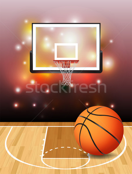 Basketball Court Ball and Hoop Illustration Stock photo © enterlinedesign