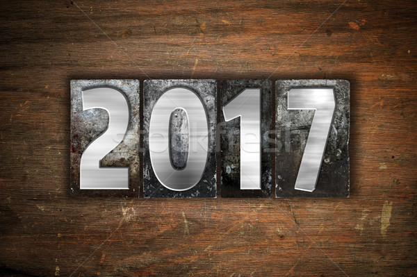 2017 Concept Metal Letterpress Type Stock photo © enterlinedesign