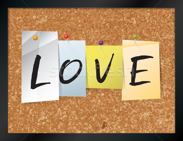 Amor boletim conselho ilustração palavra escrito Foto stock © enterlinedesign