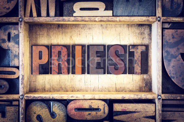 Priest Concept Letterpress Type Stock photo © enterlinedesign