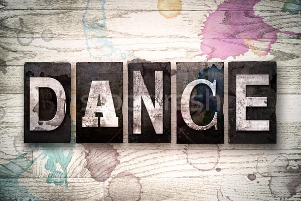 Dans Metal tip kelime yazılı Stok fotoğraf © enterlinedesign