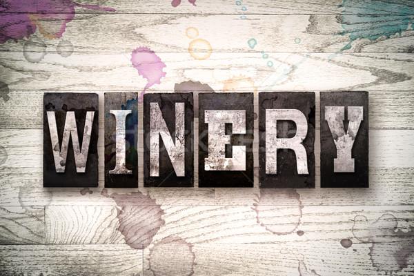 Wijnmakerij metaal type woord geschreven Stockfoto © enterlinedesign