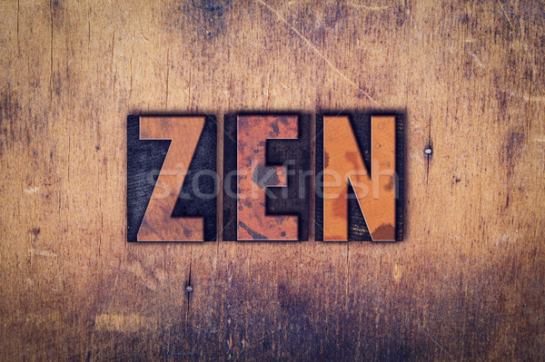 Zen Concept Wooden Letterpress Type Stock photo © enterlinedesign