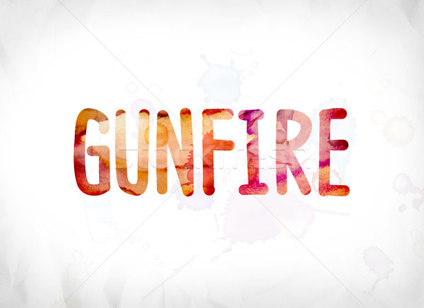 Gunfire Concept Painted Watercolor Word Art Stock photo © enterlinedesign