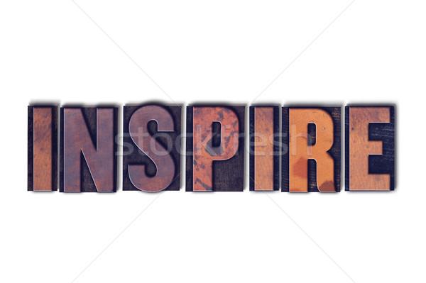 Inspireren geïsoleerd woord geschreven vintage Stockfoto © enterlinedesign