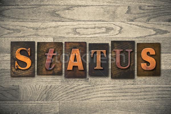 állapot fából készült magasnyomás szó írott Stock fotó © enterlinedesign