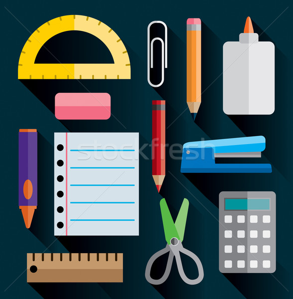 Office and School Supplies Flat Images Illustration Stock photo © enterlinedesign