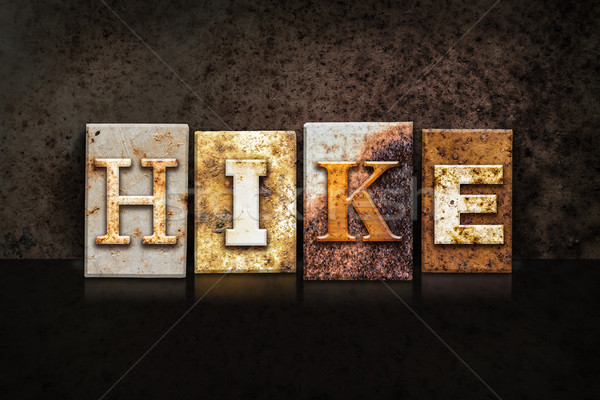 Stock photo: Hike Letterpress Concept on Dark Background