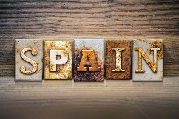 Spanje woord geschreven roestige metaal Stockfoto © enterlinedesign