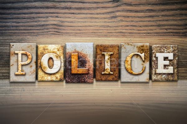 Polis kelime yazılı paslı Metal Stok fotoğraf © enterlinedesign