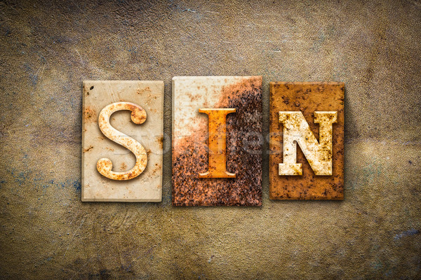 Sin Concept Letterpress Leather Theme Stock photo © enterlinedesign