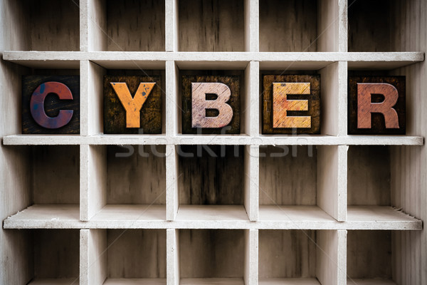 Cyber Concept Wooden Letterpress Type in Draw Stock photo © enterlinedesign