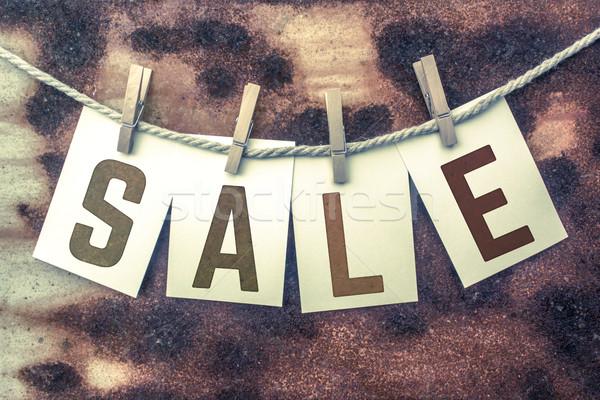 Verkauf Karten Schnur Wort alten Stück Stock foto © enterlinedesign