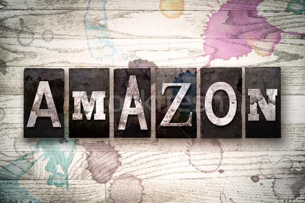Amazon Concept Metal Letterpress Type Stock photo © enterlinedesign