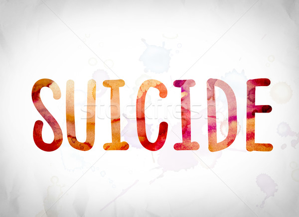 Suicidio acuarela palabra arte escrito blanco Foto stock © enterlinedesign