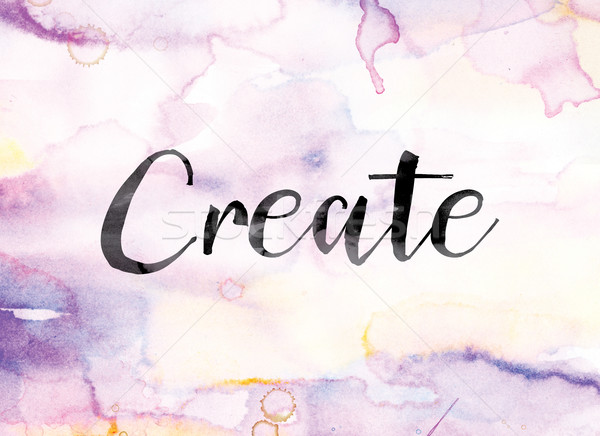 Create Colorful Watercolor and Ink Word Art Stock photo © enterlinedesign