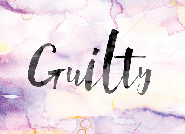 Guilty Colorful Watercolor and Ink Word Art Stock photo © enterlinedesign