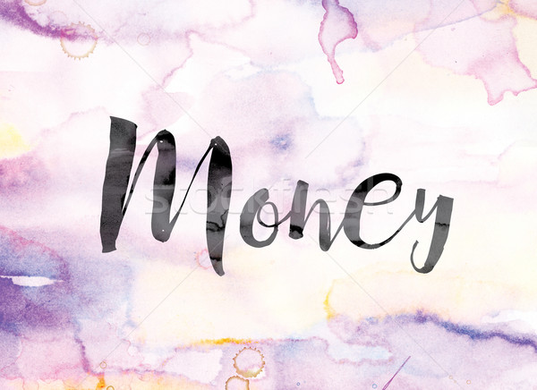 Money Colorful Watercolor and Ink Word Art Stock photo © enterlinedesign