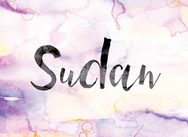 Sudan Colorful Watercolor and Ink Word Art Stock photo © enterlinedesign