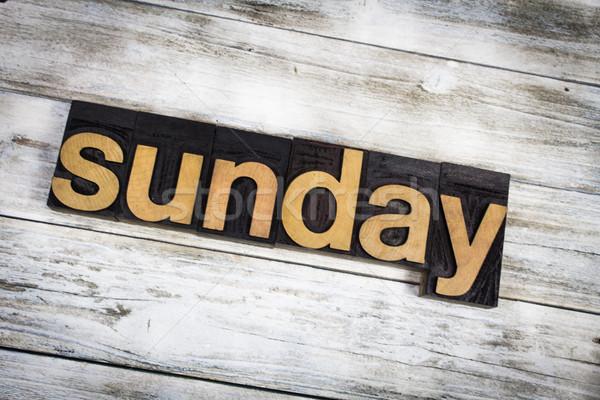 Sunday Letterpress Word on Wooden Background Stock photo © enterlinedesign