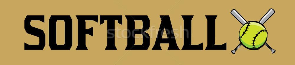 Softbal bal woord kunst banner illustratie Stockfoto © enterlinedesign