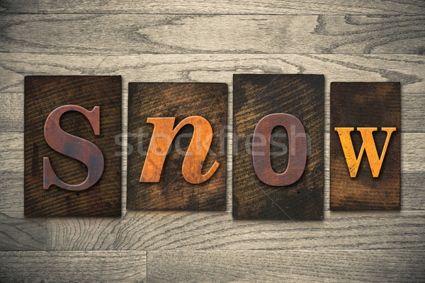 Snow Concept Wooden Letterpress Type Stock photo © enterlinedesign
