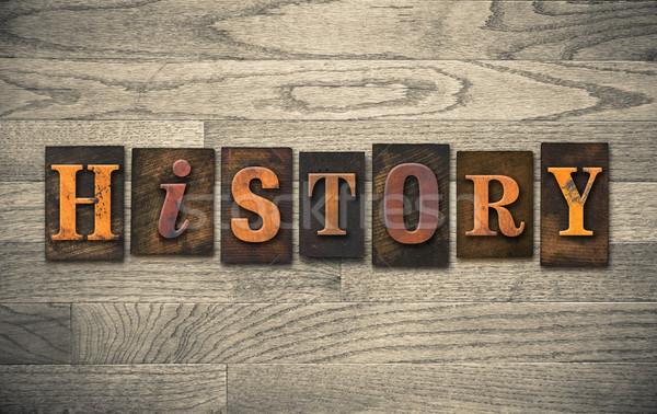 Geschiedenis houten woord geschreven vintage Stockfoto © enterlinedesign