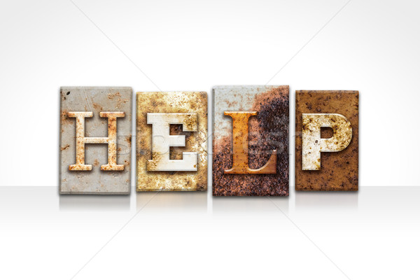 Stock photo: Help Letterpress Concept Isolated on White