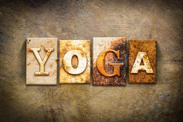 Stockfoto: Yoga · leder · woord · geschreven · roestige