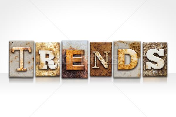 Tendencias aislado blanco palabra escrito Foto stock © enterlinedesign