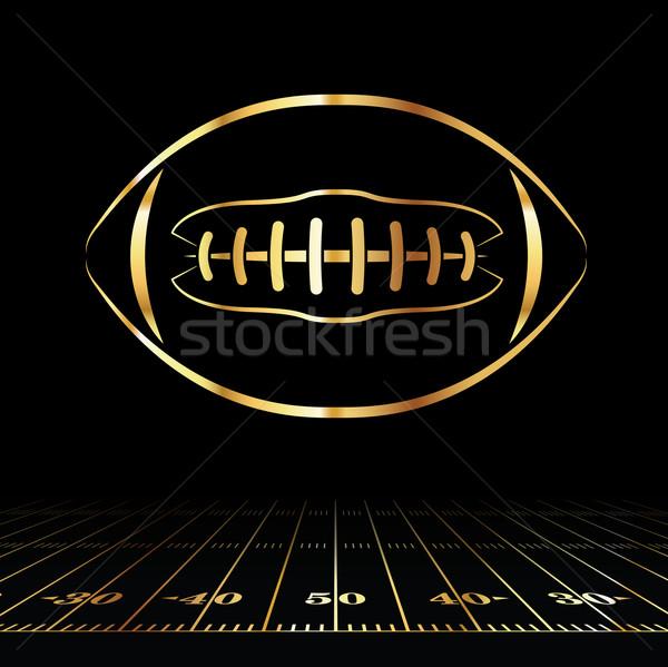American Football Golden Icon Stock photo © enterlinedesign