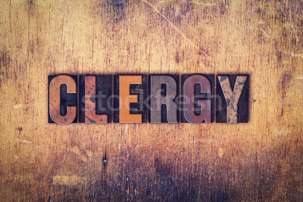 Clergy Concept Wooden Letterpress Type Stock photo © enterlinedesign