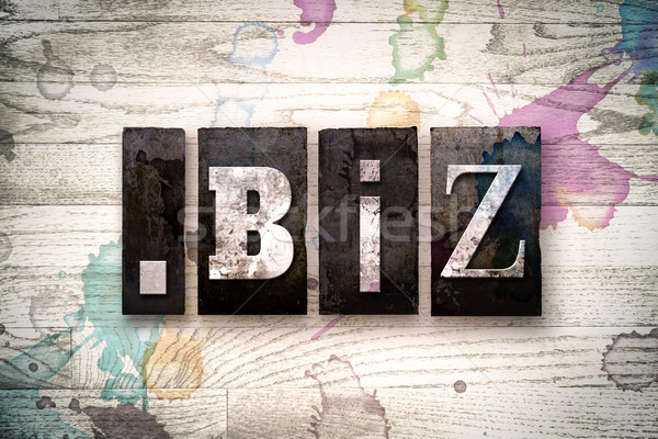 Dot Biz Concept Metal Letterpress Type Stock photo © enterlinedesign