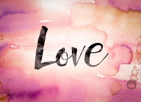 Liefde aquarel woord geschreven zwarte verf Stockfoto © enterlinedesign