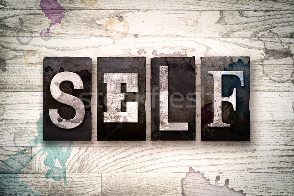 Self Concept Metal Letterpress Type Stock photo © enterlinedesign