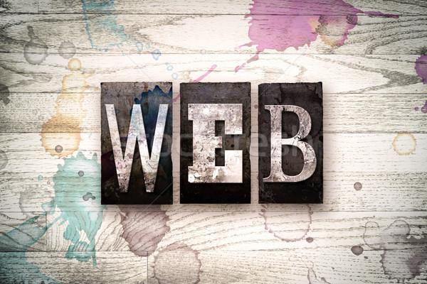 Web Concept Metal Letterpress Type Stock photo © enterlinedesign