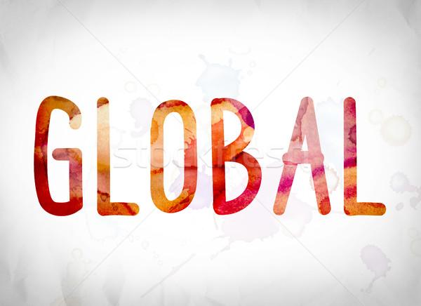 Globale aquarel woord kunst geschreven witte Stockfoto © enterlinedesign