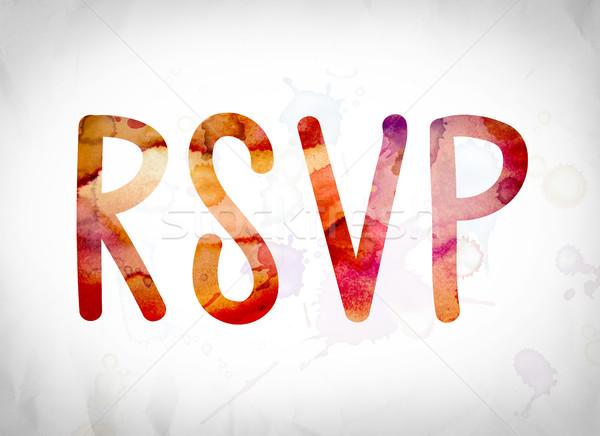 RSVP Concept Watercolor Word Art Stock photo © enterlinedesign