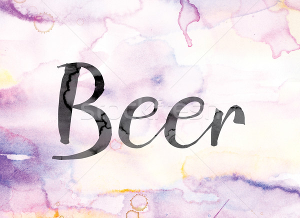 Beer Colorful Watercolor and Ink Word Art Stock photo © enterlinedesign