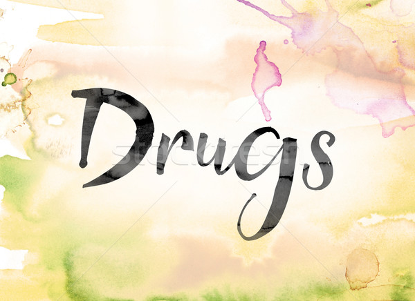 Drugs Colorful Watercolor and Ink Word Art Stock photo © enterlinedesign