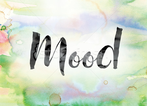 Mood Colorful Watercolor and Ink Word Art Stock photo © enterlinedesign