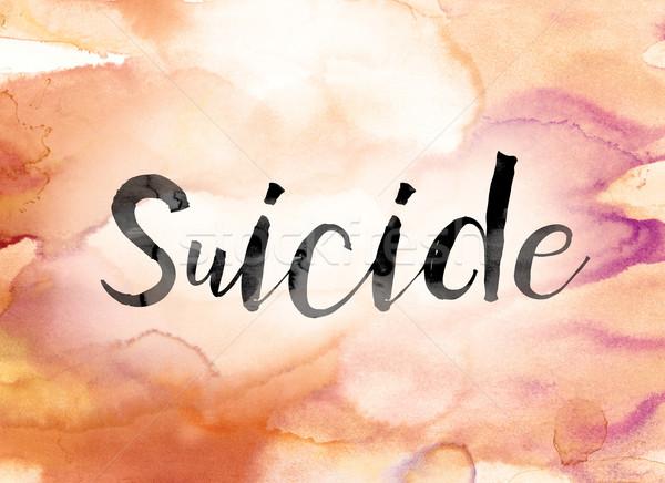 самоубийства красочный акварель чернила слово искусства Сток-фото © enterlinedesign