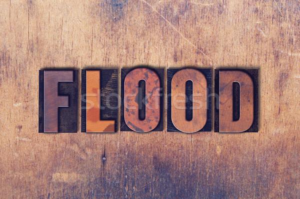 наводнения слово древесины написанный Vintage Сток-фото © enterlinedesign