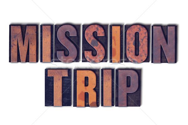 Misión viaje aislado palabra palabras Foto stock © enterlinedesign
