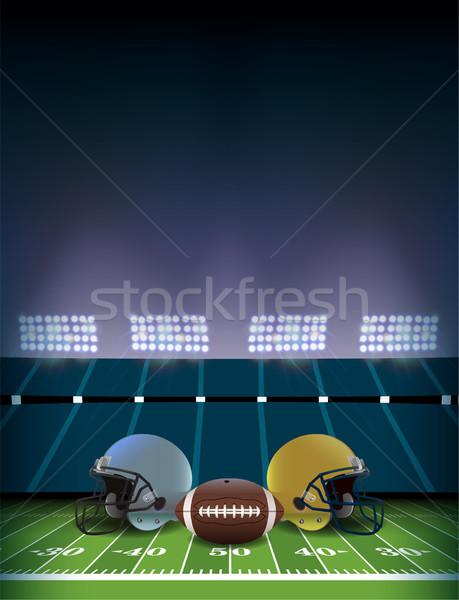 Terrain de football stade casques balle football Photo stock © enterlinedesign